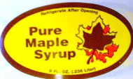 """Yellow/Brown Preprinted Weight with Leaf - Allstate Pure Maple Syrup 8 oz  2.5"""" x 1.25"""" - 100/pak"""