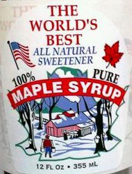 """White with Colored Picture - World's Best Syrup 12 oz  2.75"""" x 3.5"""" - 100/pak"""