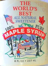 """White with Colored Picture - World's Best Syrup 8 oz  2.75"""" x 3.5"""" - 100/pak"""