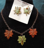 Leaf Necklace,  Matching Earrings are available.
