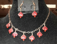 Leaf Necklace with Small Red Leaves.  Matching Red Earrings are available.