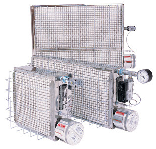 A picture of 3 different sized Cata-Dyne heaters