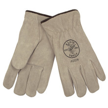 Klein Tools 40014 Suede Cowhide Drivers Gloves Lined, L