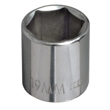 "Klein Tools 65919 19 mm Metric 6-Point Socket - 3/8"" Drive"