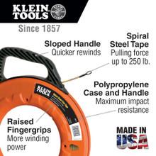 Klein Tools  56013 Spiral Steel Fish Tape, 50-Foot