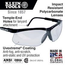Klein Tools  60053 Protective Eyewear, Black Frame, Clear Lens
