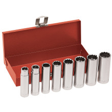 Klein Tools  65514 1/2-Inch Drive Deep Socket Wrench Set, 8-Piece