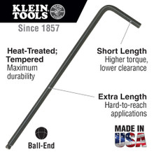 Klein Tools  BL10 5/32-Inch Hex Key, L-Style Ball End