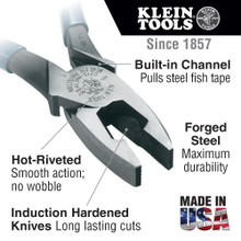 Klein Tools  D2000-9NETP Lineman's Pliers, Fish Tape Pulling, 9-Inch