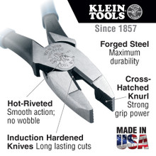 Klein Tools  D201-8NE Pliers, Side Cutters with New England Nose, 8-Inch