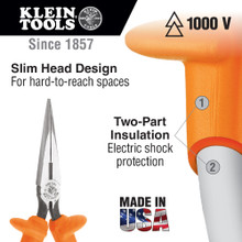 Klein Tools  D203-7-INS Pliers, Long Nose Side-Cutters, Insulated, 7-Inch