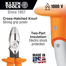 Klein Tools  D213-9NE-INS Side Cutting Pliers, New England Insulated, 9-Inch