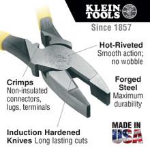 Klein Tools  J2000-9NECR Lineman's Pliers, Crimping, 9-Inch