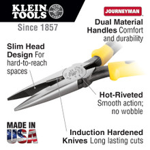 Klein Tools  J203-6 Pliers, Long Nose Side-Cutters, 6-3/4-Inch