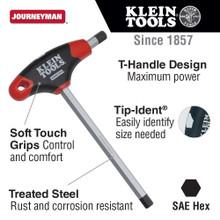 Klein Tools  JTH4E13 1/4-Inch Hex Key, Journeyman T-Handle, 4-Inch