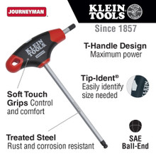 Klein Tools  JTH6E11BE 3/16-Inch Ball Hex Key, Journeyman T-Handle 6-Inch
