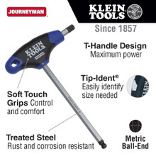 Klein Tools  JTH6M6BE 6 mm Ball End Hex Key, Journeyman T-Handle, 6-Inch