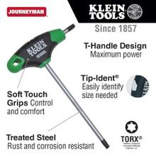 Klein Tools  JTH6T27 T27 Torx® Hex Key with Journeyman T-Handle, 6-Inch
