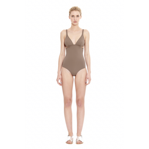 TAUPE TWIST BACK ONE PIECE - FRONT