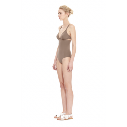 TAUPE TWIST BACK ONE PIECE - SIDE
