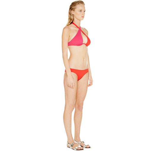 BICOLORE WRAP TOP IN ROUGE FRAMBOISE WITH ROUGE CLASSIC PANT - SIDE