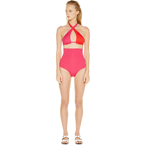 BICOLORE WRAP ONE PIECE - ROUGE FRAMBOISE - FRONT