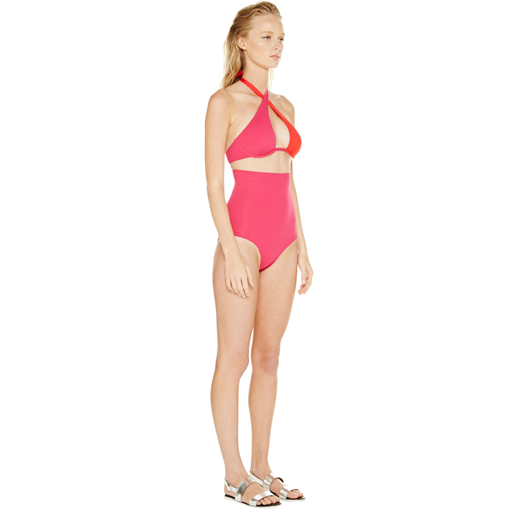 BICOLORE WRAP ONE PIECE - ROUGE FRAMBOISE - SIDE