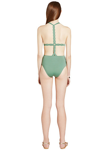 KHAKI SWERVE ONE PIECE BACK