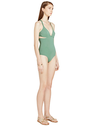 KHAKI TWIST BACK ONE PIECE SIDE