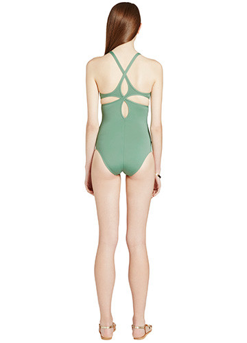 KHAKI TWIST BACK ONE PIECE BACK