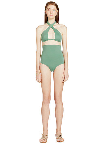KHAKI WRAP ONE PIECE FRONT