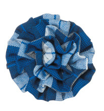Small Rosette on Pinch Clip, Plaid 91