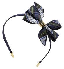 Monarch Bow on Headband, Plaid 55