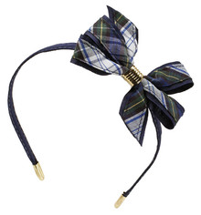 Monarch Bow on Headband, Plaid 41