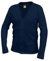 V-Neck Cardigan Sweater with Logo(1042)