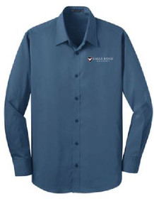 Stretch Poplin Long Sleeve Shirt with Logo, Staff Wear (1007)