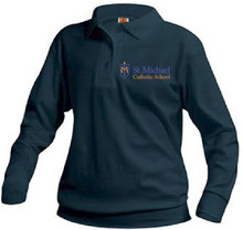 Polo Long Sleeve Banded Bottom with Logo, (1045)