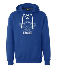 Hooded Sweatshirt, White Laces with Logo, Spirit Wear (1017)