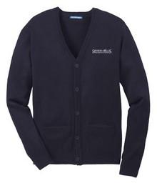 VNeck Sweater Cardigan (Adult) with Logo, Staff Wear (1022)