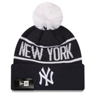 New Era New York Yankees Pom Beanie Navy White