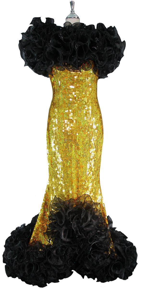 Long Dress Handmade 10mm Flat Gold Sequin Spangles Black