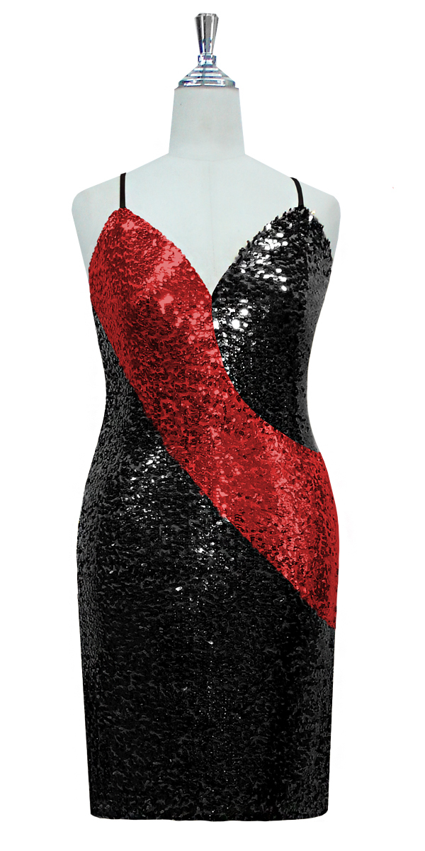 2e7d7d58cddd Short Dress | Patterned | Classic Cut | Black and Red| Sequin ...