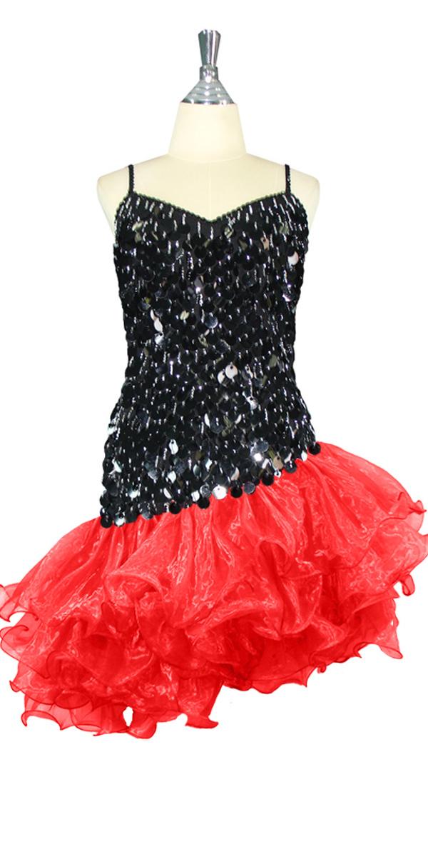 9d97c02f8b87 Short Dress | Paillette Black Sequin Spangles | Red Organza Ruffles ...