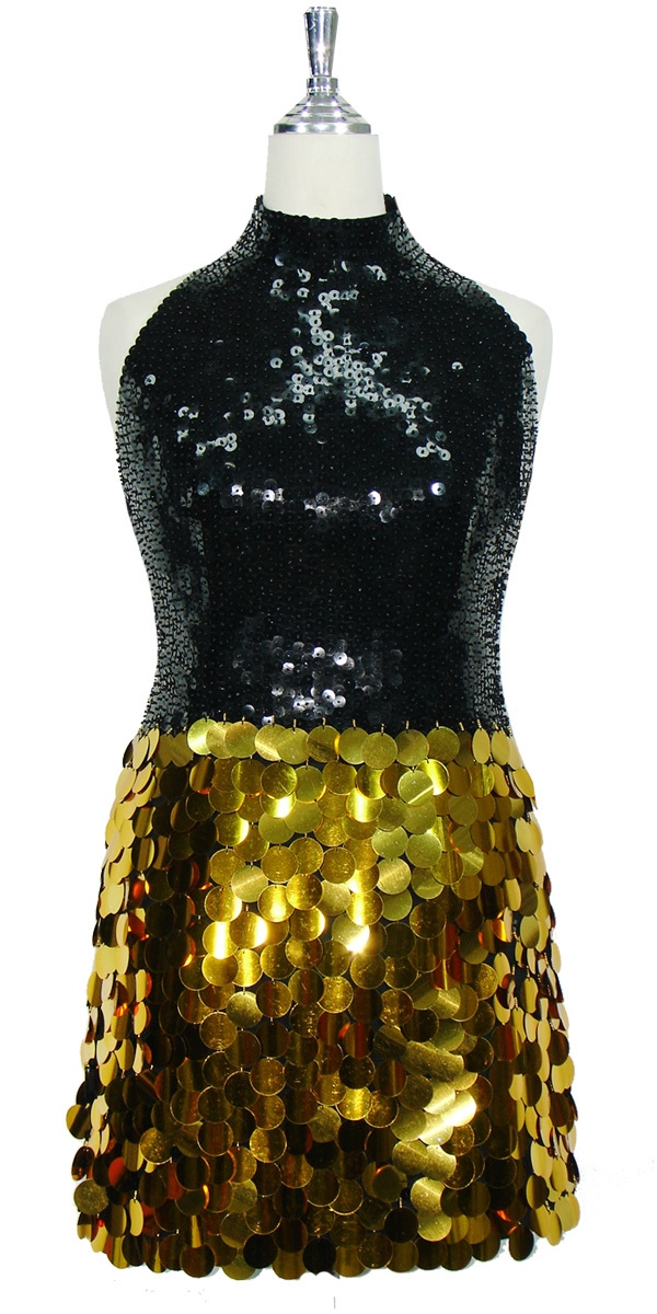 6baedd68 Short Sequin Dress   Black 10mm flat Spangles   Gold Paillettes ...