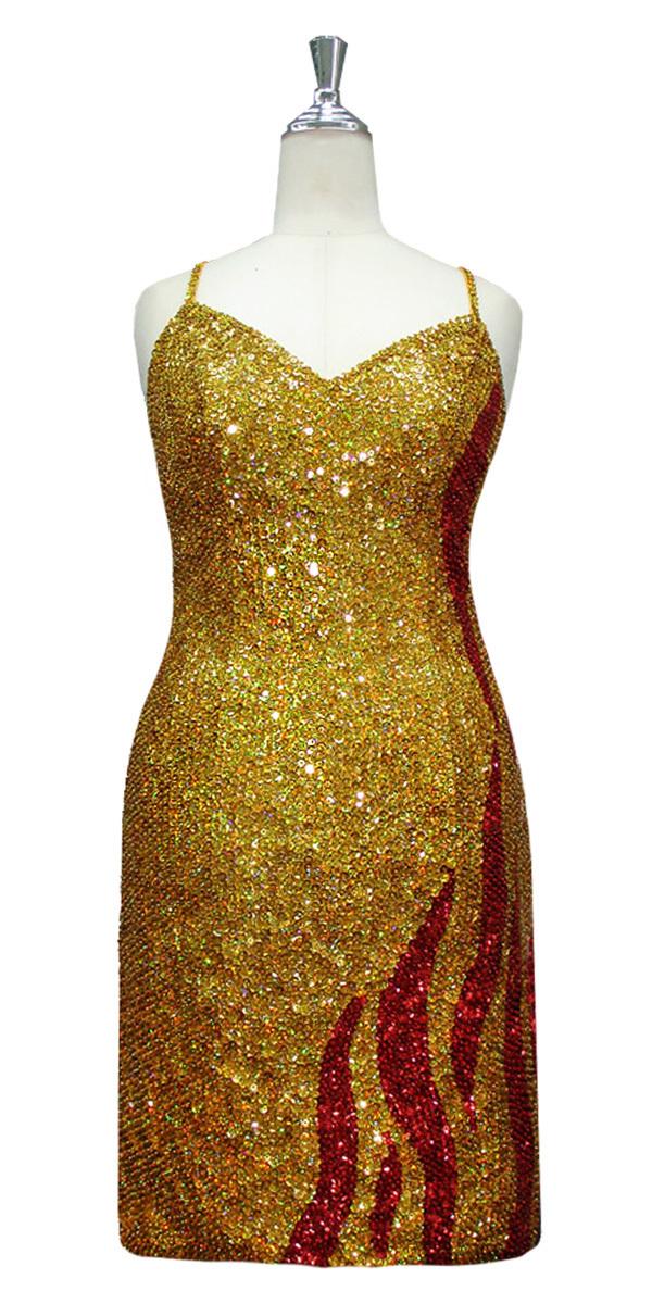 ef3e057f Short Patterned Dress   8mm Round Sequin Spangles   Gold ...