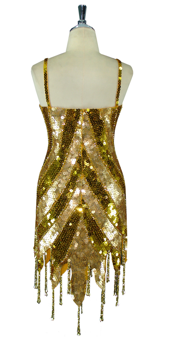 2d35278953b Short Patterned Dress | 10mm Flat Sequin Spangles | Gold | Silver ...
