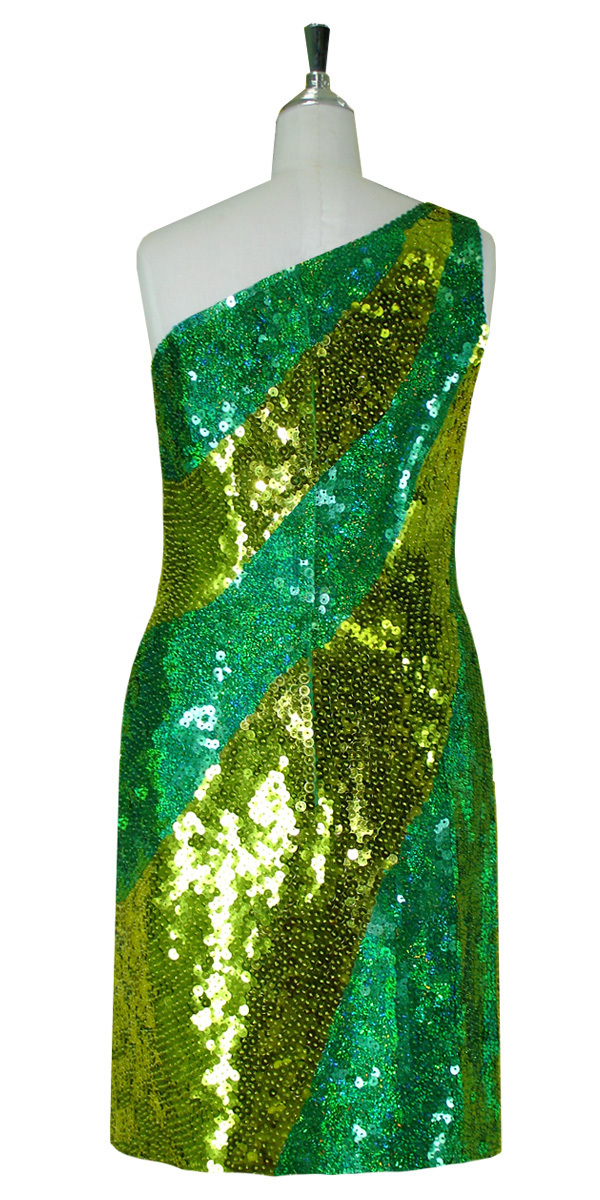 1ea4c57b Short Patterned Dress | 10mm Flat Sequin Spangles | Hologram Green ...