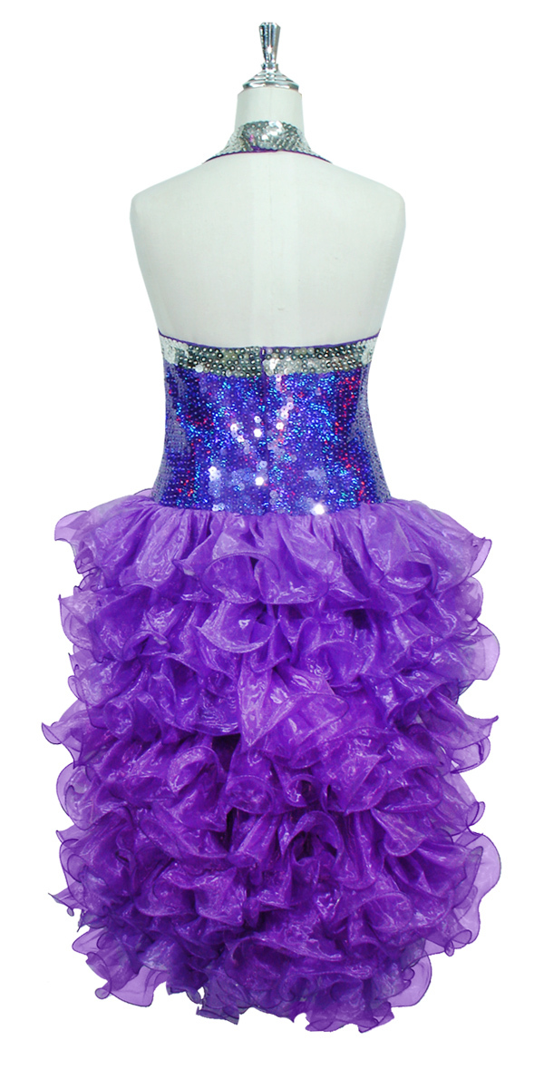 5ebb829f Short Dress | 10mm Flat Sequin Spangles | Silver | Purple | Organza ...