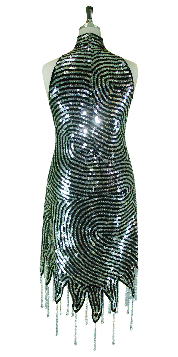 f1f80a59 Short Swirl Patterned Dress | 10mm Flat Sequin Spangles | Black ...
