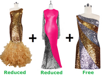 Buy 2 Sequin Fabric Dresses With Discounts On Each & Get 1 Short Sequin Fabric Dress Free (SPCL-086)